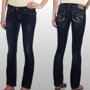 Silver Tuesday Flap Bootcut Jeans Dark Wash Low